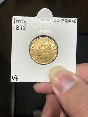 1873 italy 20 lire gold coin