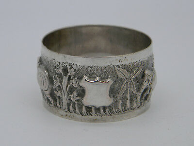 Silver Plated Elephant Decorted Indian Chased Napkin Ring