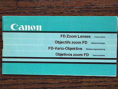 Canon FD zoom lens instruction book for 35-105 100-300mm 50-300mm f4.5 L 24-35mm