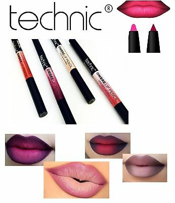Technic OMBRE Lip Pencil Matte Lipstick Dark and Light Duo Shades Xmas Crayons