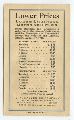 Dodge Brothers 1925 price list postcard ~ 15 models, Wallerich Co., Indianapolis