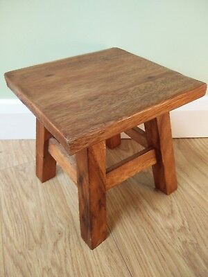 "Fair Trade Hand Carved Acacia Wooden Stool / Chair - 10"" Square - 70079-83"
