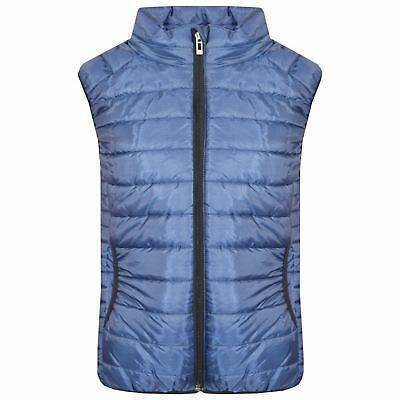 Kids Girls Boys Navy Sleeveless High Neck Padded Gilet Bodywarmer Jackets 5-13Yr