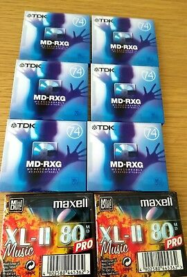 6 TDK Recordable Mini Disc 74 (MD-RXG) sealed blanks + 2 new maxell mini disc 80