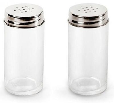 Set of 2 Kitchen Classics Salt and Pepper Glass Shakers with Stainless Steel Top
