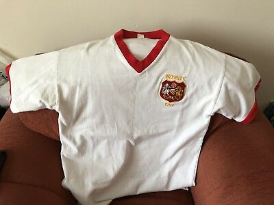 a2286f356 Manchester United Retro Football Shirt 1957 Wembley F.A Cup White Toffs  large