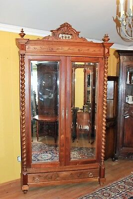 French Antique Louis XIII Walnut Wood Tall 2 Door Beveled Mirror Armoire Cabinet