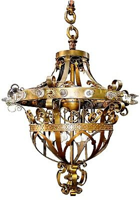 Large Antique Renaissance Revival Hand-Wrought Brass 22-Light Theatre Chandelier