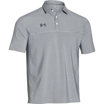 506646a758 Men's Under Armour Clubhouse Striped S/S Golf Polo Shirt NEW Grey/White MSRP
