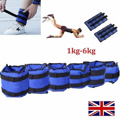 Pair of Wrist Ankle Adjustable Weights Wraps Straps Fitness Gym Exercise 1KG-6KG