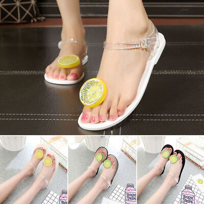 4ea90c8107f152 Womens Summer Shoes Flats Buckle Transparent Clear Flip Flops Girl Beach  Sandals