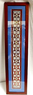 Hand Woven Geometric Patterned Bead Work, Matted & Framed for Display
