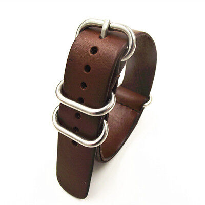 High Quality 18MM 20MM 22MM Nato Strap Genuine Leather Dark Coffee Color Watch