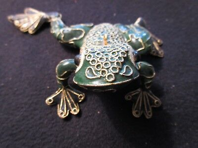 Decorative ornate green gold color metal frog figurine collectible