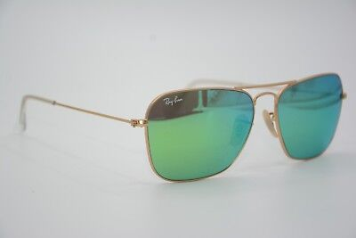 f6b5787fc20ba RAY BAN RB 3136 CARAVAN Sunglasses Gold Frames   Green Lenses 55mm ...