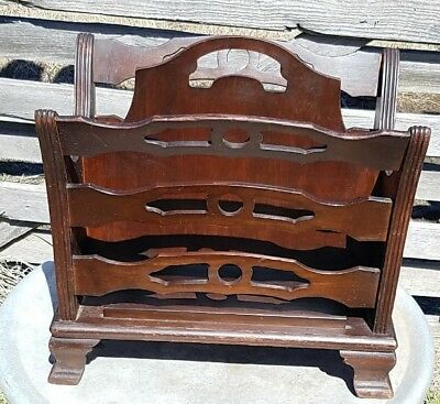 Vintage antique solid 1940's BUTLER MAHOGANY wood  magazine Rack stand style 734
