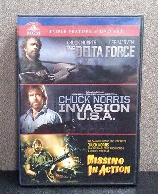 Delta Force / Invasion U.S.A. / Missing in Action  (DVD)  Chuck Norris LIKE NEW