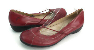 1b573d8bd321 Natural Soul Nayana Women s Red Leather Low Wedge Mary Jane Shoes US Size  8.5 M