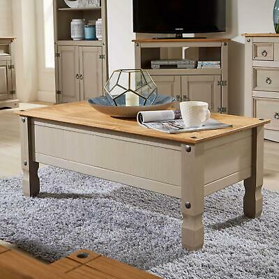Corona Pine Two Tone Grey Coffee Table 1 Drawer Solid Wood Occasional Table