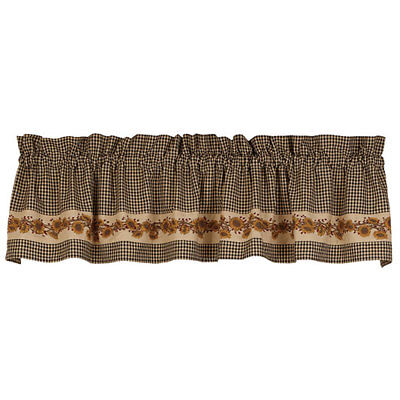 """Sunflower 'N' Berries Black/Cream Check Country Unlined Window Valance 72"""" x 14"""""""