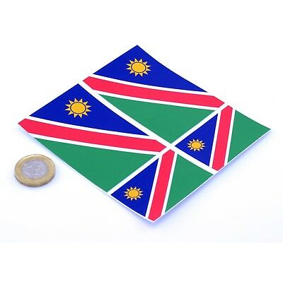 """Namibia Flag Stickers x4 3"""" & 2"""" Car Vinyl Rally Racing Window Decals"""