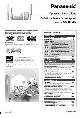 PANASONIC SA-PT150 HOME Theater System Owners Instruction Manual