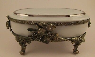 Vintage French Country Shabby Chic Bathroom Ornate SOAP DISH Holder Silver Plate