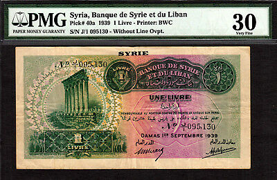 Syria 1939 One Livre Without Line Ovpt. Pick-40a VF PMG 30