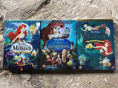 The Little Mermaid Trilogy Disney DVD Bundle 1 2 and Ariels Beginning!  * NEW *