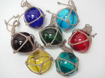 """5 Pcs Assort Color Glass Float Ball With Fishing Net 5"""" **pick Your Colors**"""