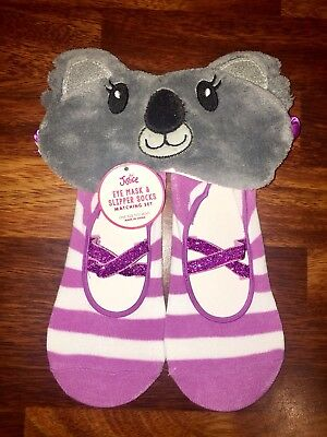 NEW JUSTICE EYE MASK & SLIPPER SOCKS MATCHING SET Koala