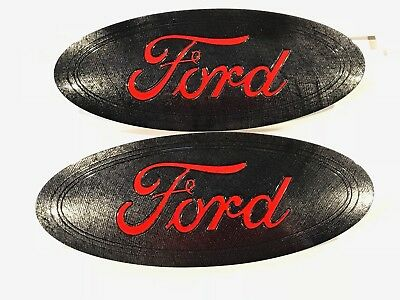 2015-6-7 Ford F150 Carbon Fiber Custom Painted,front & Rear Emblem,race Red Logo