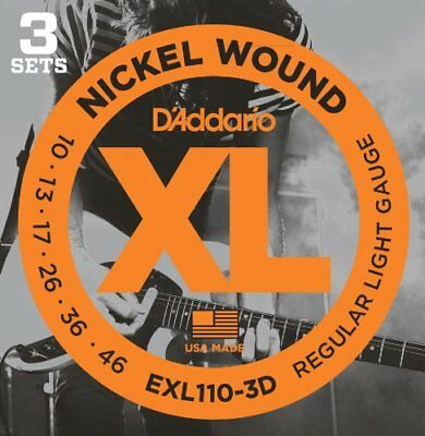 D'Addario EXL110-3D Nickel Electric Guitar Strings Regular Light 10-46 3Sets