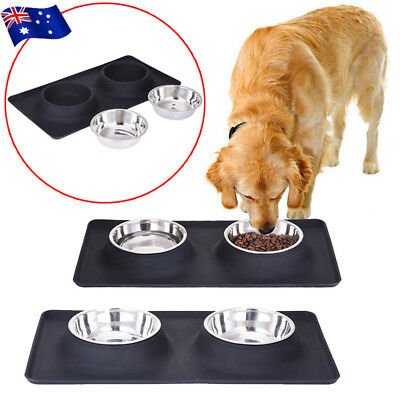 Dog Bowls Stainless Steel No Spill Silicone Mat Pet Feeder Dish Full Dinner Set
