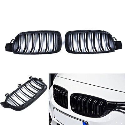 Gloss Black Twin Fins Front Kindey Grille For BMW F30 F31 2012-2014 3 Series Hot