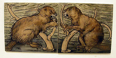 William De Morgan 2 Tile Beaver Panel / Bathroom / Kitchen / Splashback
