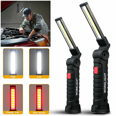 USB Rechargeable COB LED Work Light Magnet Flashlight w/ Hook Folding Torch Lamp