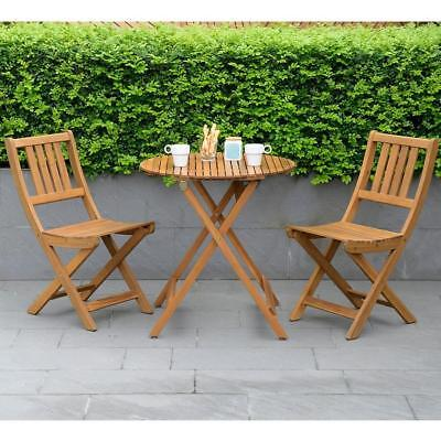 Wood 2 Seater Garden Bistro Set Patio Balcony Folding Wooden Table Chairs  Seats