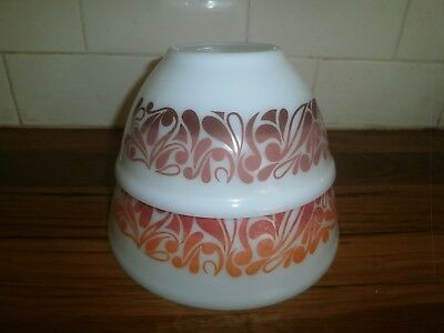 PYREX STACKING NESTING MIXING BOWLS ~ VINTAGE RETRO 1970's ~ PAISLEY FLAMEWAVES