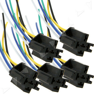 5Pcs 12V 40A Pre Wired 5-Pin Car Relay Mounting Base Harness Socket Holder LB QO