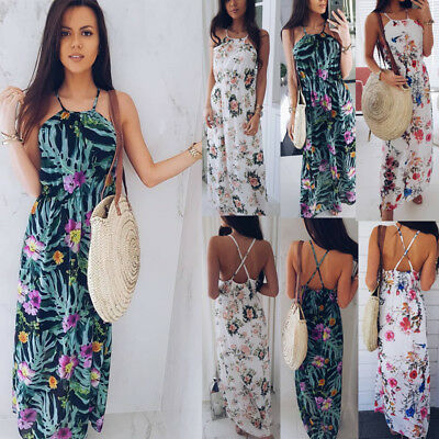 Women Floral Summer Boho Beach Sleeveless Long Dress Evening Club Sundress DE