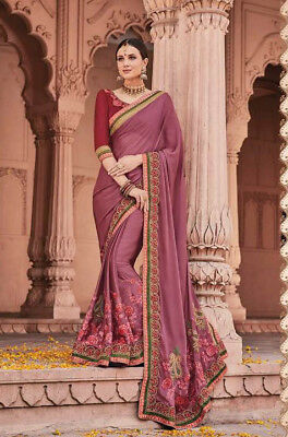 Fancy fabrics with heavy work Indian ethnic wear Sari/Sree with blouse 03