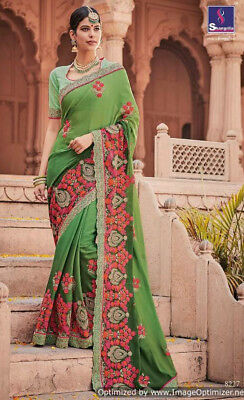 Fancy fabrics with heavy work Indian ethnic wear Sari/Sree with blouse 09