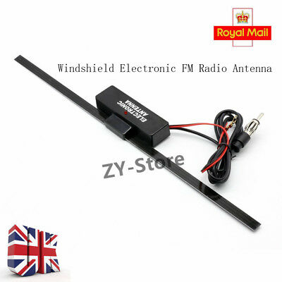 UK Electronic Amplified Antenna Stereo Radio FM Aerial Universal Car Vehicle 12V