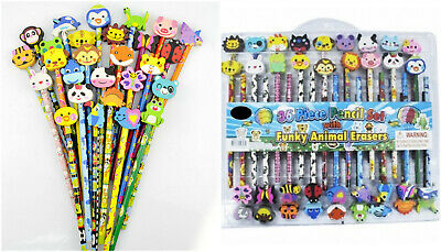 36pcs PIECE PENCIL SET with Funky Animal Erasers Children's Kids Stationary Set3