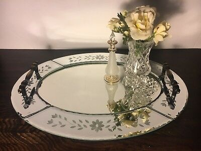Beautiful Decorative Etched Beveled Mirror Vanity Drinks Tray Mirrored Glass