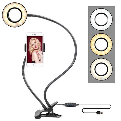 LED Ring Light Clip-on Mobile Phone Holder Halo Beauty for live broadcast/Selfie