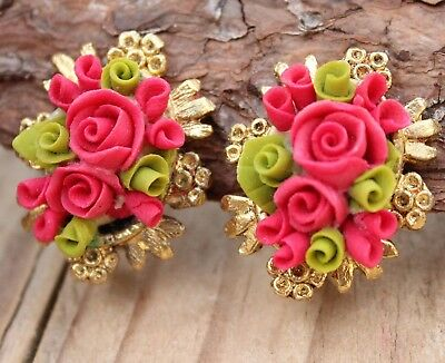 Vintage Earrings Red Flowers Clip-on Vintage 1970s Retro Jewellery Clips Jewelry