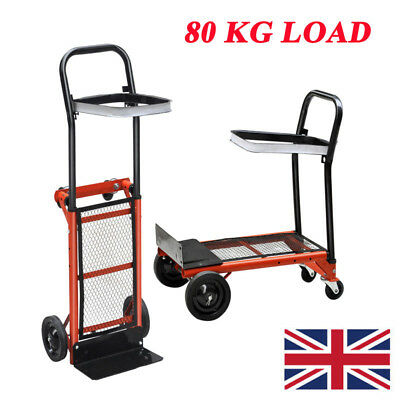80KG Load Folding Hand Truck Sack Cart Carriage Trolley Industrial Home Use UK