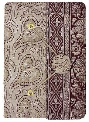 3.5 x 5 Inches Zari Saree Cover Handmade Paper Mini Journals Scrapbook-50 Pages